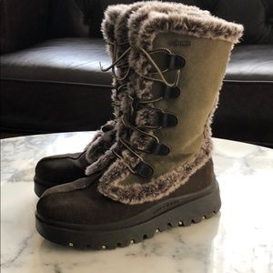 Shoes - Sketchers Boots Size 7.5 Faux Fur Brown Green